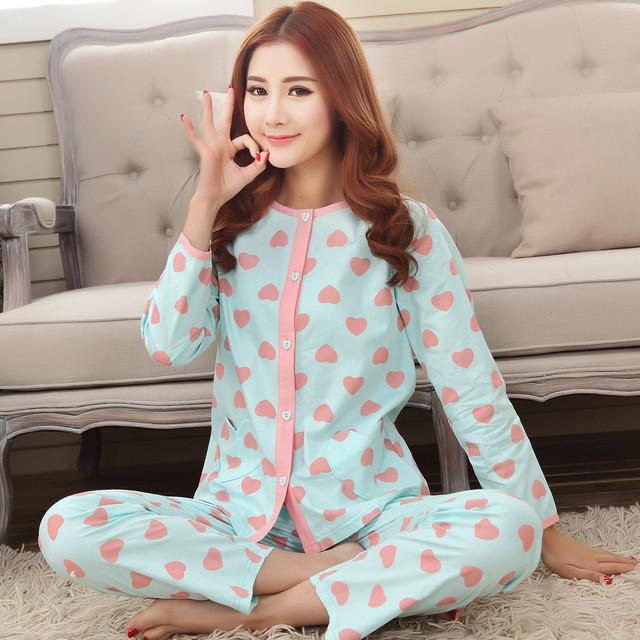 Mulheres de verão de algodão puro conjuntos de pijama primavera outono tecido fino da longo-luva ocasional set lounge sleepwear