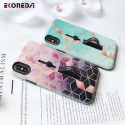 EKONEDA Hidden Holder For iPhone 7 Plus Case iPhone X Case Ring Relief Ingradient Geometric For iPhone XS Max XR 6S 8 Plus Case 4