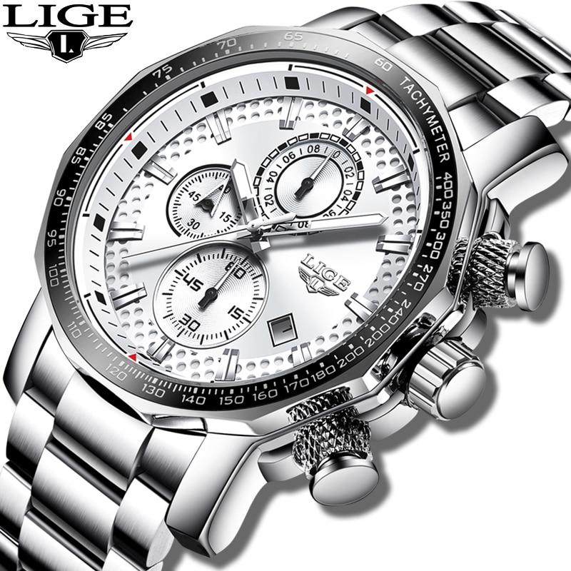 Men Watch LIGE Top Brand Luxury Large Dial Stainless Steel Business Watch Men Casual Waterproof Wrist