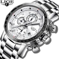 Męskie zegarki LIGE Top marka luksusowe duże pokrętło zegarek biznesowy ze stali nierdzewnej mężczyźni Casual wodoodporny zegarek na rękę Relogio Masculino