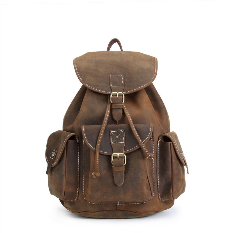100% Genuine Leather Rucksack Men Backpack High Quality Crazy Horse Men Shoulder Bag School Travel Laptop Knapsack bag #M8891 marrant genuine leather backpacks men shoulder bag men bag leather laptop bag 15 inch men s luggage travel bags school backpack