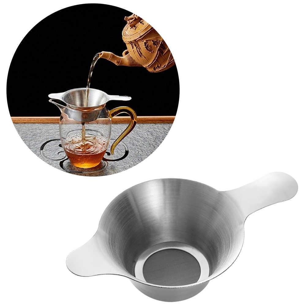 1 ピースステンレス鋼のティーストレーナー細かいメッシュ中国カンフー茶葉漏斗フィルターティー & コーヒーキッチンアクセサリー