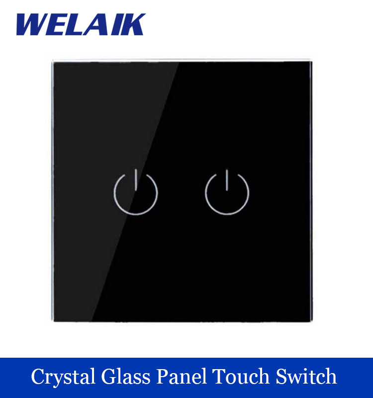 WELAIK Crystal Glass Panel Switch black Wall Switch EU Touch Switch Screen Wall Light Switch 2gang1way AC110~250V A1921B smart home us au wall touch switch white crystal glass panel 1 gang 1 way power light wall touch switch used for led waterproof
