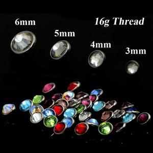Image 4 - 40 parça/kutu düz CZ kristal Dermal çapa üstleri ile 16g iplik cilt Piercing takı karışık renkler