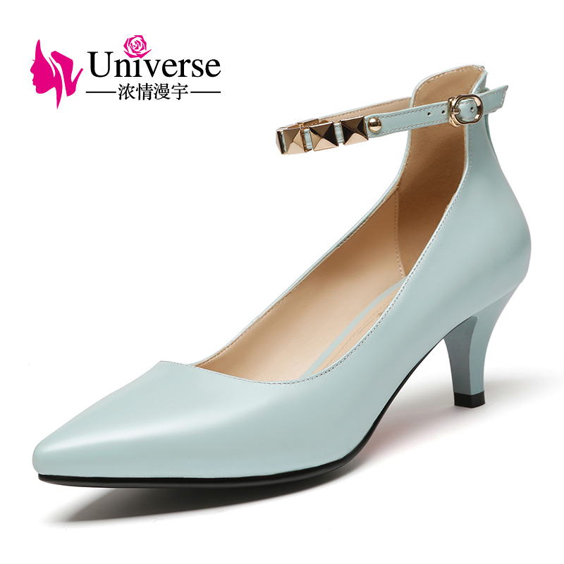 Universe Genuine Leather Women Shoes Med Heel Pumps Sweet Elegant Dress Shoes Thin Heel Pointed Toe C057 genuine leather shoes women med heel soft leather shoes comfortable pumps sy 2411