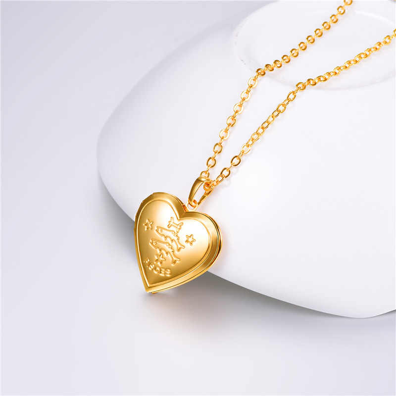 Kpop унисекс ювелирные изделия золотого цвета 12 зодиакальное Созвездие знаки в форме сердца фото медальон Подвеска-ожерелье для женщин мужчин P3207