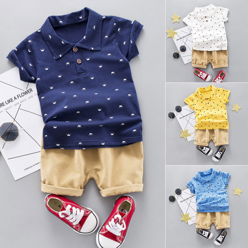 Kids Cotton Short Sleeve Print Tops + Solid Color Shorts for Summer YJS Dropship