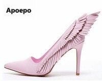 2017 розовые крылья Обувь женщина Высокие каблуки пикантные элегантные стилет слипоны вечерние Новые женские туфли лодочки свадебные туфли