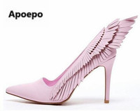 2017 Pink Wings Shoes Woman High Heels Sexy Elegant Stiletto Slip On Party New Women Pumps Wedding Shoes Plus Size 43