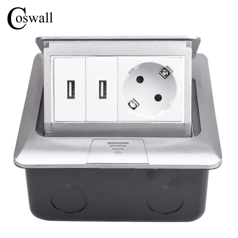 Coswall All Aluminum Silver Panel Pop Up Floor Socket 16A Russia Spain EU Standard Power Outlet With Dual USB Charge Port manufacturer all aluminum panel eu standard pop up floor socket single power outlet dual usb port page 2