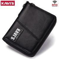 KAVIS Business 100% Genuine Leather Wallet Men Black Coin Purse Male Cuzdan Small Portomonee Zipper Mini PORTFOLIO Card Holder