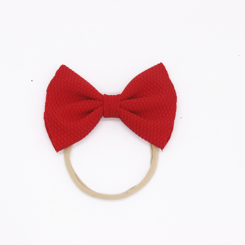 1pcs Red Knitted Bows Nylon Headbands For Girls Cute