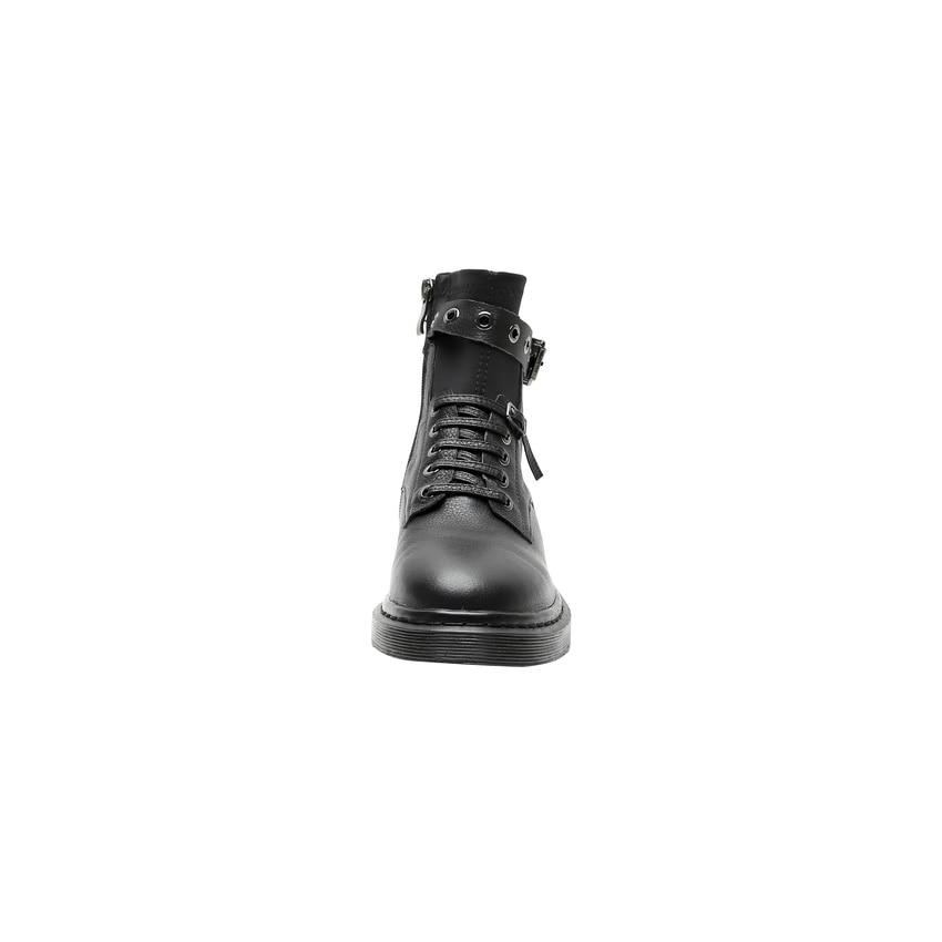 QUTAA 2020 Runde Kappe Schnalle Plattform Casual Stiefeletten Niedrigen Ferse Echtem Leder Spitze Up Zipper Fashion Frauen Schuhe Größe 34 42-in Knöchel-Boots aus Schuhe bei  Gruppe 3