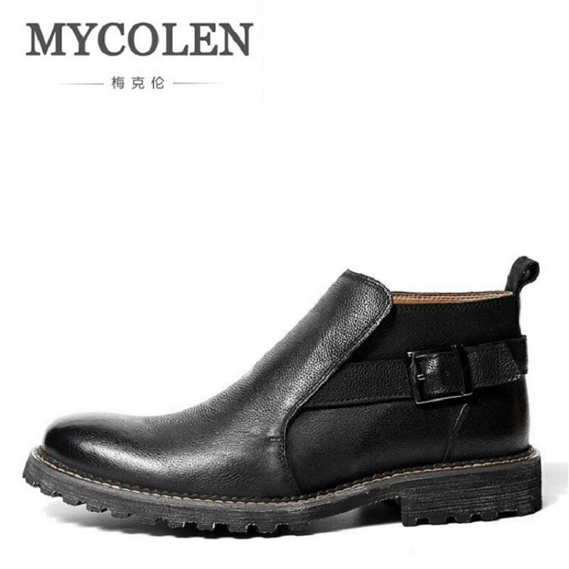 MYCOLEN Men Boots Comfortable Black Winter Warm Waterproof Ankle Boots Casual Men Cowhide Leather Boots Business Winter Shoes
