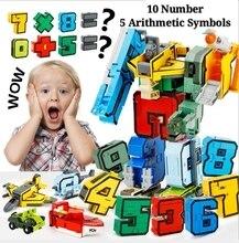 15ps Figures City Creative Bricks Gudi Transform Number Robot Deformation Plane Car Educational Action Toy Kids Building Model