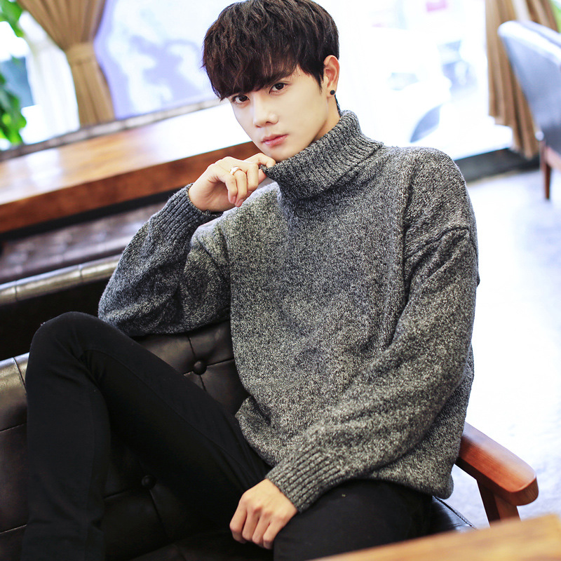 Men's Knitted Sweaters Turnable High-collar Sweaters Men's Autumn-winter Korean Version Of Young Men's Suits Head Sweaters
