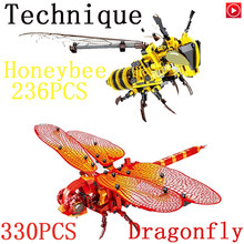 Legoed Animal Simulated insect DIY Red Dragonfly Building Blocks Legoingly LEpins Technic Honeybee Bricks Model kits Toys for ki(China)
