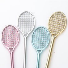 1 pcs Creative Stationery Office supplies lovely Badminton racket shape Neutral Pen insert Type Water Pen(China)