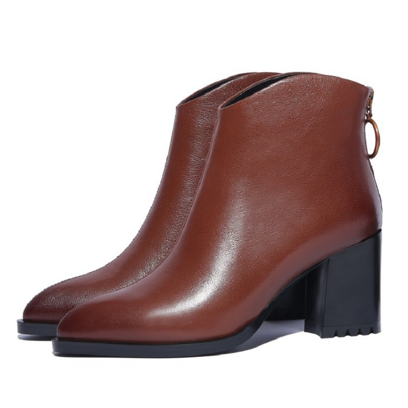 2019 autumn and winter new thick with high heels Martin boots casual pointed womens booties brwon 03072019 autumn and winter new thick with high heels Martin boots casual pointed womens booties brwon 0307