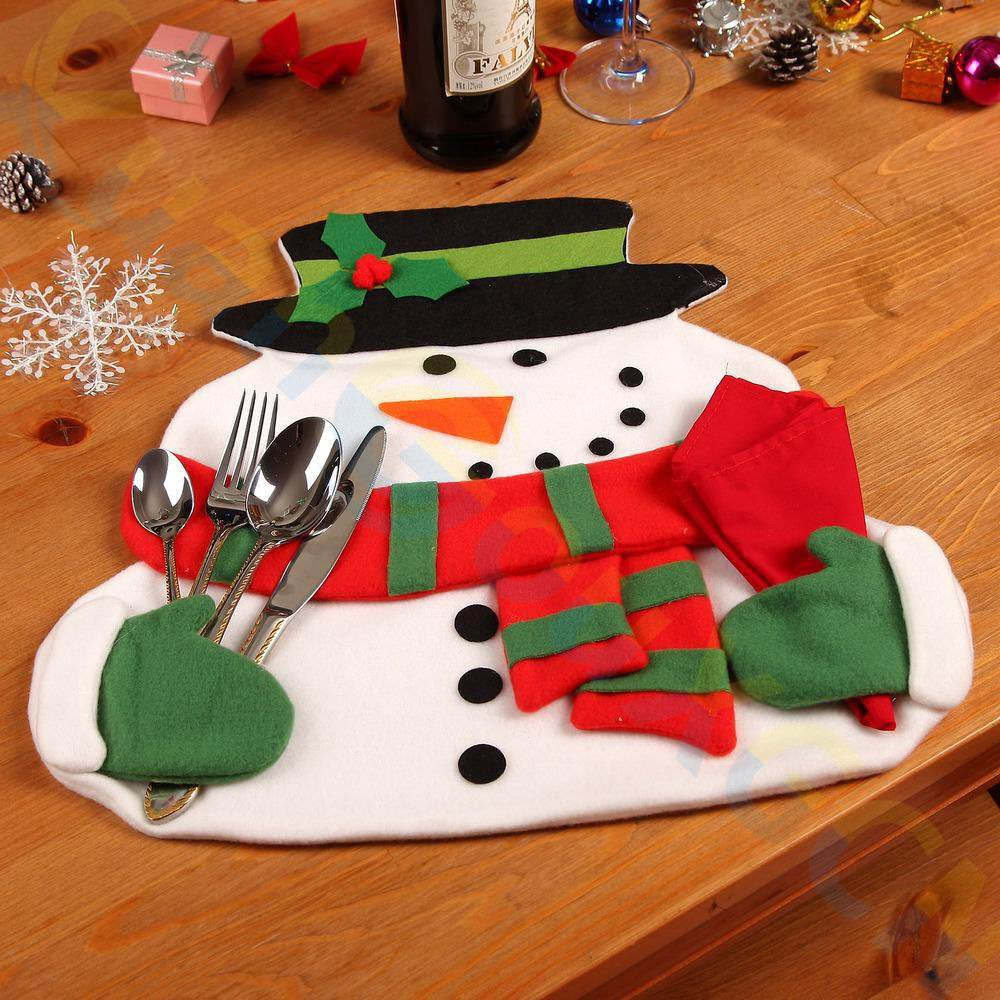 6pcs party home Christmas decoration snowman dinner table mat Insulation pads Tableware Fork knife bag napkin holder