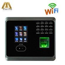 Система распознавания лиц ZK UF100, система с считывателем отпечатков пальцев, поддержка нескольких языков, TCP/IP, Wi-Fi, часовые часы для лица
