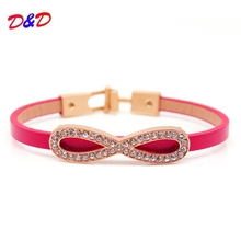 2017 Korean 8 Words Charm leather Bracelet Simple Personality Crystal Bracelets & Bangles Jewelry Female