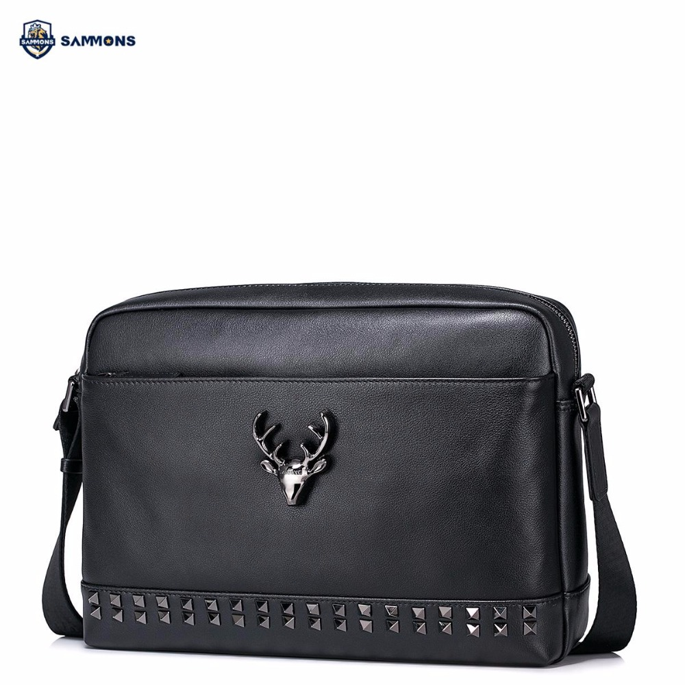 купить SAMMONS Brand Design Fashion Rivets Deer Hardware Casual Genuine Cow Leather Men Shoulder Bag Crossbody Messenger Bags недорого