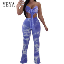 YEYA Vintage Print Two Pieces Women Casual Bodycon Jumpsuit Off Shoulder V Neck Sleeveless Backless Beach Party Overalls Female