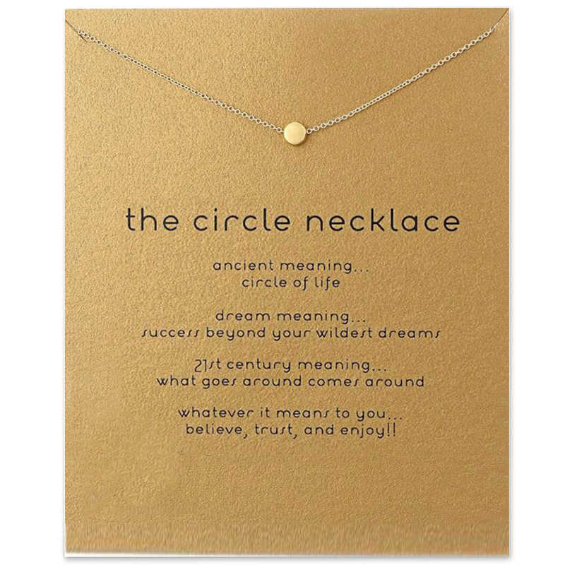 Trendy The Circle Necklace For Women Minimalist Pendant Gold Color Chain Choker Necklaces Valentine's Day Gift Card