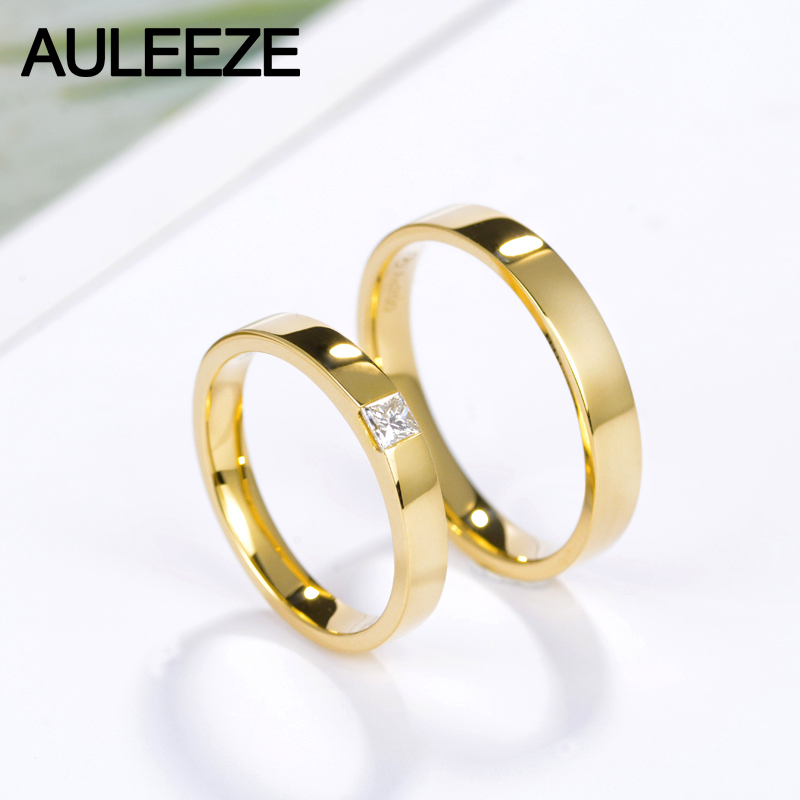 band bridal yellow real rings princess item cut solid bands from gold for wedding jewelry simple couple smooth in lovers jewellery diamond auleeze