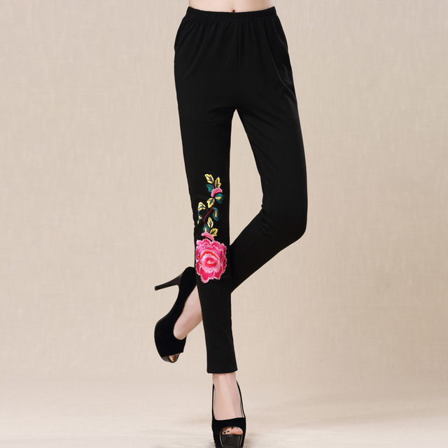 New Fashion Women's Embroidered Flower Peony Pattern Cotton Leggings Elastic Lady Pants Cropped Trousers Large Size Leggings