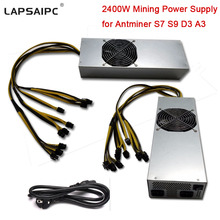 Lapsaipc Miner PSU 2400W Power Supply 12V mining power 6Pin For Bitcoin Miner Eth Rig Ethereum S7 S9 D3 A3