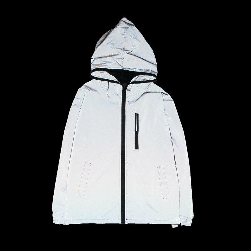 100% Kwaliteit Mannen Vrouwen Reflecterende Jas Hooded Geul Glow In The Dark Bovenkleding Jas Overjas Street Wear W181 Elegante Verschijning