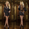 2017 New brand American sexy 5 colour style women Sexy nightgown black Hollow lace back Robe+T-back gown half sleeve nightgown