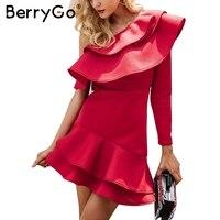 BerryGo Sexy One Shoulder Ruffle Women Dress Winter Elegant Long Sleeve Bodycon Dress Female Autumn Slim