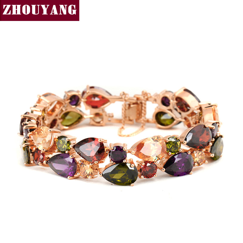 H003 Luxurious Crystals Bracelet Rose Gold Color Fashion Jewelry Made with Genuine Crystal Wholesale fashion rose pattern wide bracelet w crystal golden