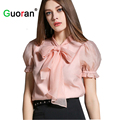 {Guoran} Elegant Pink Blouses For Women 2016 Summer New High Quality Romantic lantern Sleeve Bow Chiffon Shirts Female Tops