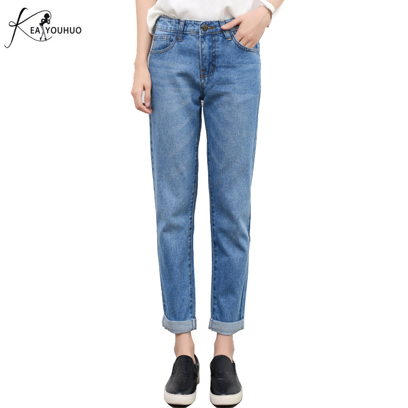 Puls Size 2017 New Boyfriend Jeans For Women High Waist Loose Low Elastic Womans Jeans Causal Denim Full Length Jeans feminino