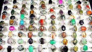 Image 2 - 150 قطع مختلط لون الحجر الطبيعي الفضة مطلي خواتم للنساء مجوهرات أزياء كبير كله المعظم الكثير BL020