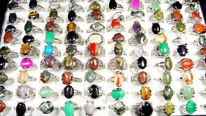 Image 2 - 150Pcs Mixed Color Natural Stone Silver Plated Rings For Women Fashion Big Whole Jewelry Bulks Lots BL020