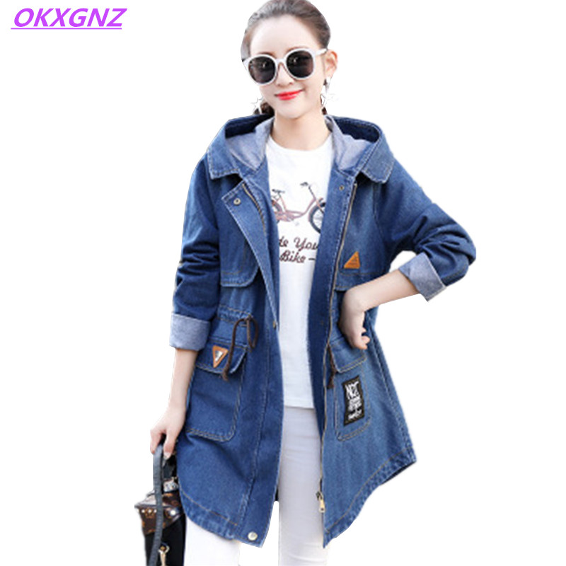 2017 New Spring Autumn Denim Jacket For Women Fashion Hooded Casual Tops Long sleeves Slim Windbreaker Plus Size Coat OKXGNZ 443