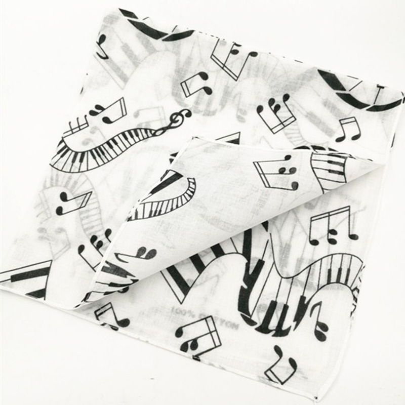 2017 Fashion Hip Hop Music Note Keyboard Pattern Head   Scarf     Wrap   Bandana Print Wristband Headband 12pcs/lot 55*55cm