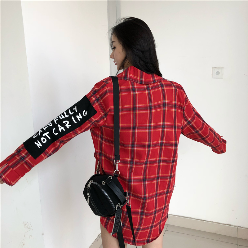 Cheerart Plaid Blazer Women Blazers And Jackets Coat Chic Korean Casual Blazer Blue Red White Patch Female Blazer Clothes