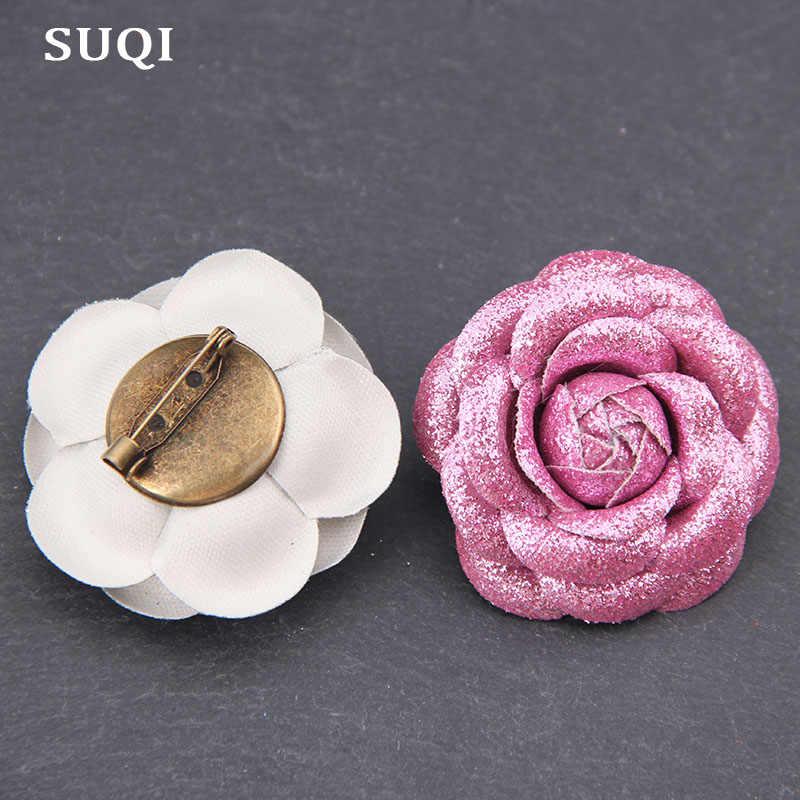 SUQI charm broche alfileres para mujeres polvo brillante cuero artificial PU coreano solapa vestido alfileres joyería broches Rosa 2019