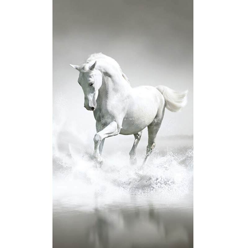 Entrance Hallway White Horse Wallpaper TV Backdrop Continental Wall