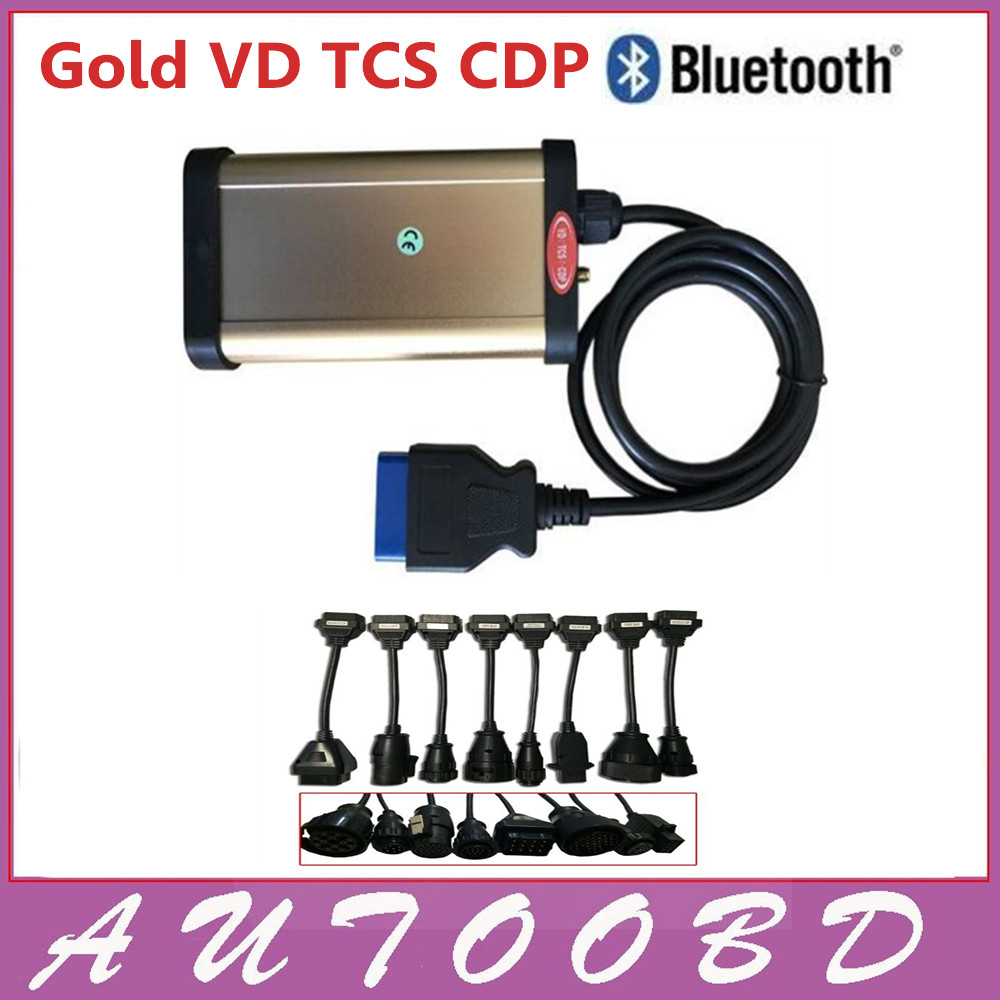[Quality A+] Latest Version 2013.R3+(Keygen Activator) Gold VD TCS CDP Bluetooth with 8pcs Truck Cable Auto Diagnostic Equipment with bluetooth japen nec relay latest new vci vd tcs cdp pro bt obd2 obdii obd with best pcb chip green single board