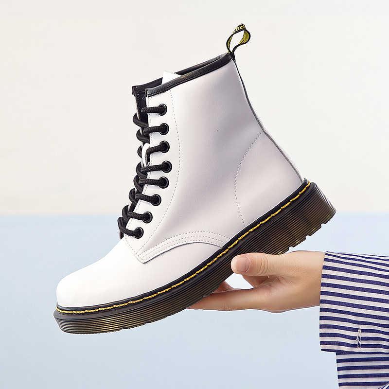 Vrouwen Laarzen Klassieke Lederen Schoenen Vrouwen Herfst Winter Laarzen Lederen Punk Enkel Botas Mujer Bont Winter Chaussures Femme