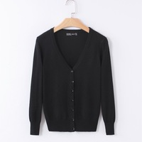 Knitted Cardigan Women 2017 Spring Autumn Long Sleeve V-Neck Women's Sweater Cardigan Female Single Button Pull coat Black/Pink