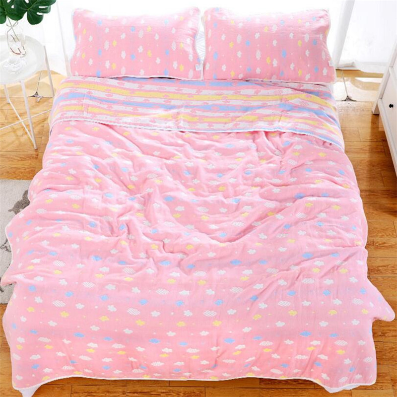 150*200CM 6 Layers Cotton Sleeping Blanket Summer Sleeping Bedding Sheet Blanket 100% Cotton Muslin Bed Cover Sherpa Blankets