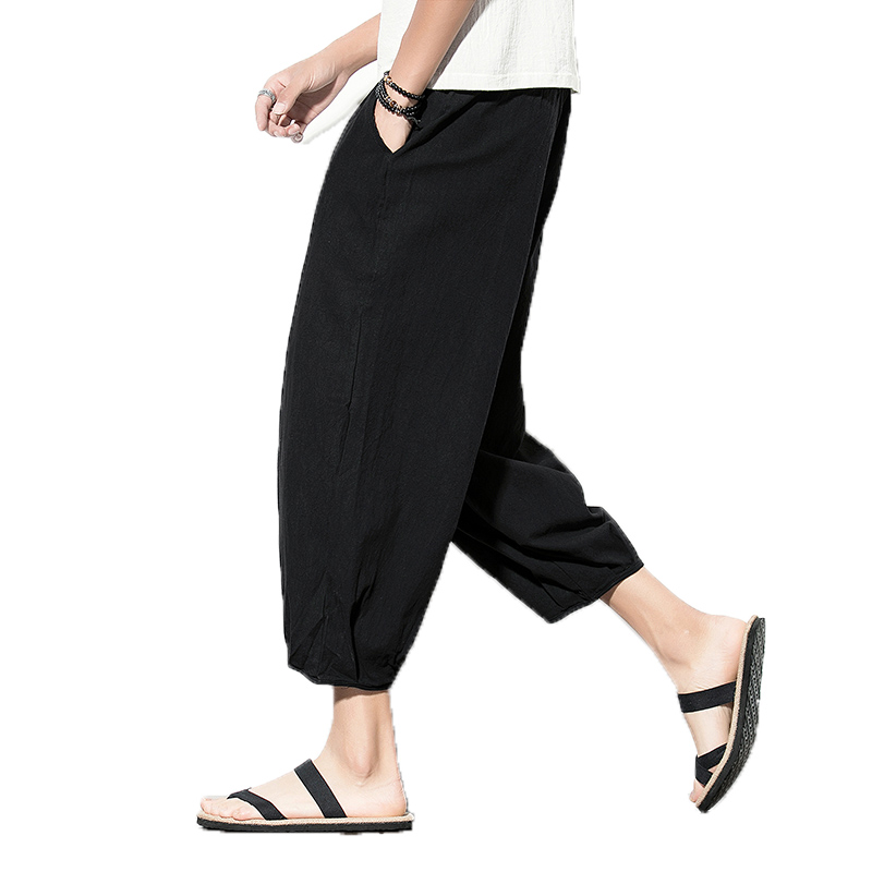 Harem Pants Trousers Mens Loose Chinese-Style Cotton Casual Summer Solid Linen